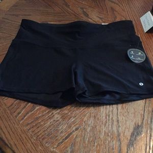 Black pair of exercise shorts